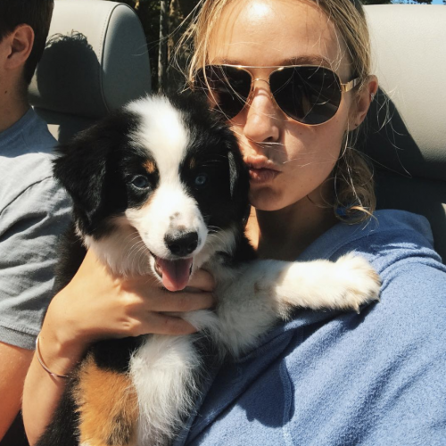 blonde woman and puppy in a convertible