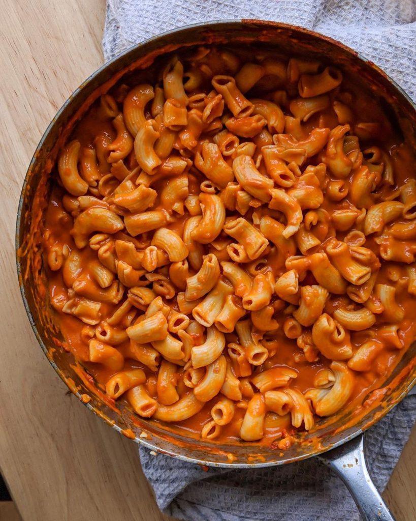 A pot full of delicious rigatoni pasta