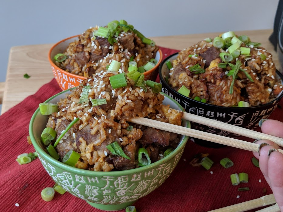 3 bowls of DIY healthy fried rice inspired by Benihana