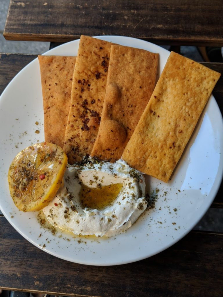 A plate of labneh at ilili in Flatiron NYC