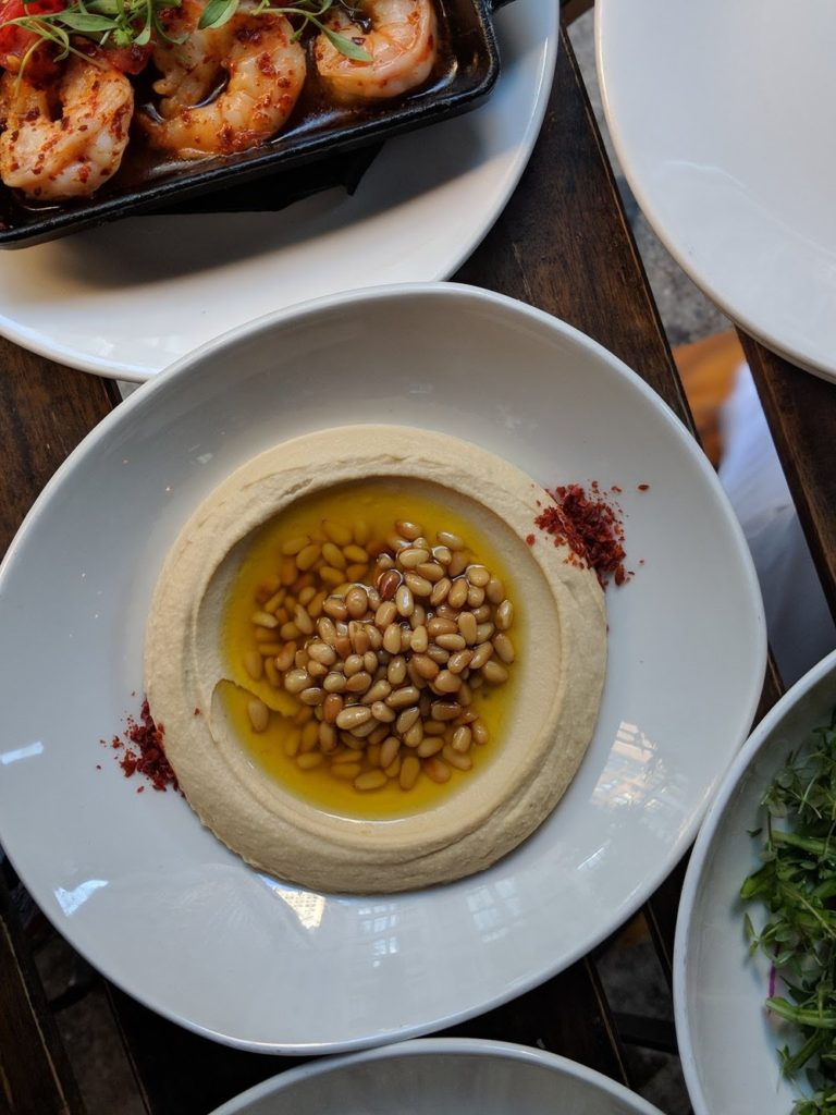 A plate of pine nut hummus at ilili in Flatiron NYC