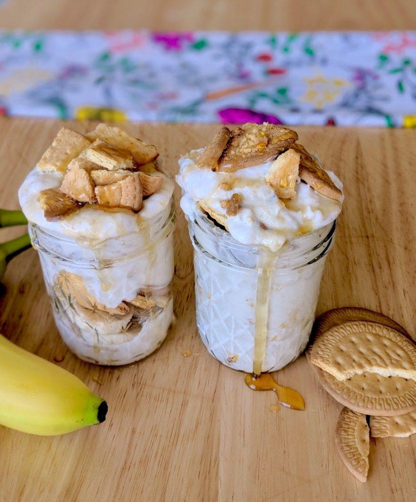 Two jars of greek yogurt banana pudding inspired by Magnolia Bakery