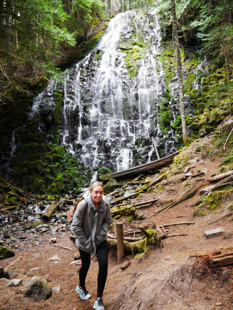 hiker at Ramona falls at Mount Hood oregon