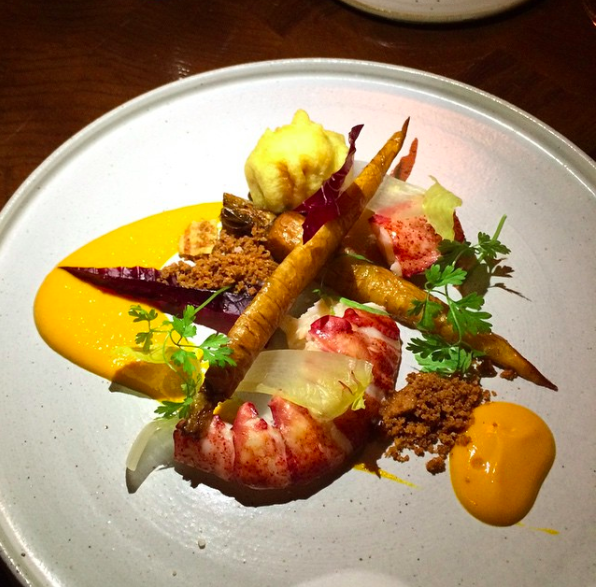 Lobster tail and vegetables from Batard in Tribeca NYC