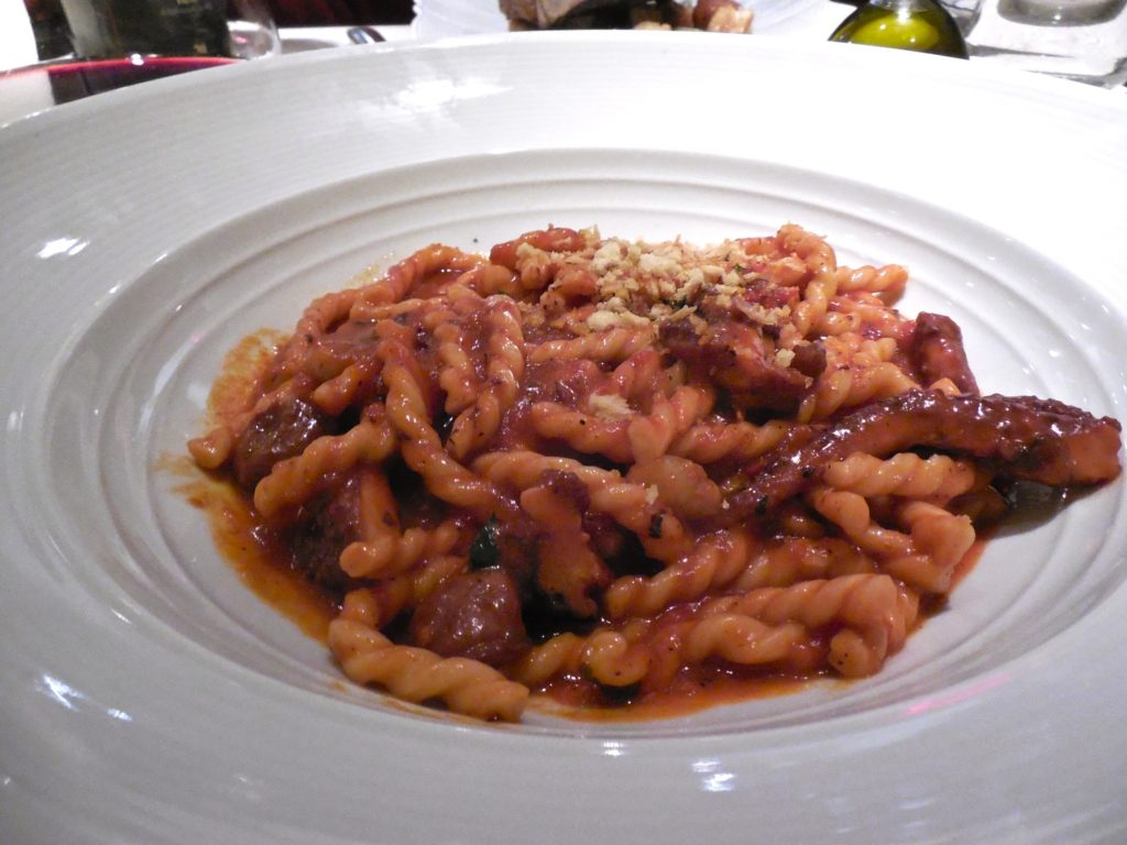 Bone marrow fusilli in a tomato sauce from Marea on Central Park South in NYC
