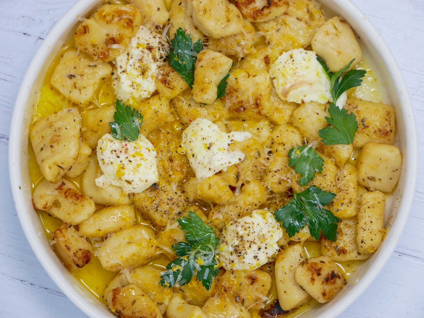 lemon butter potato gnocchi ricotta parsley