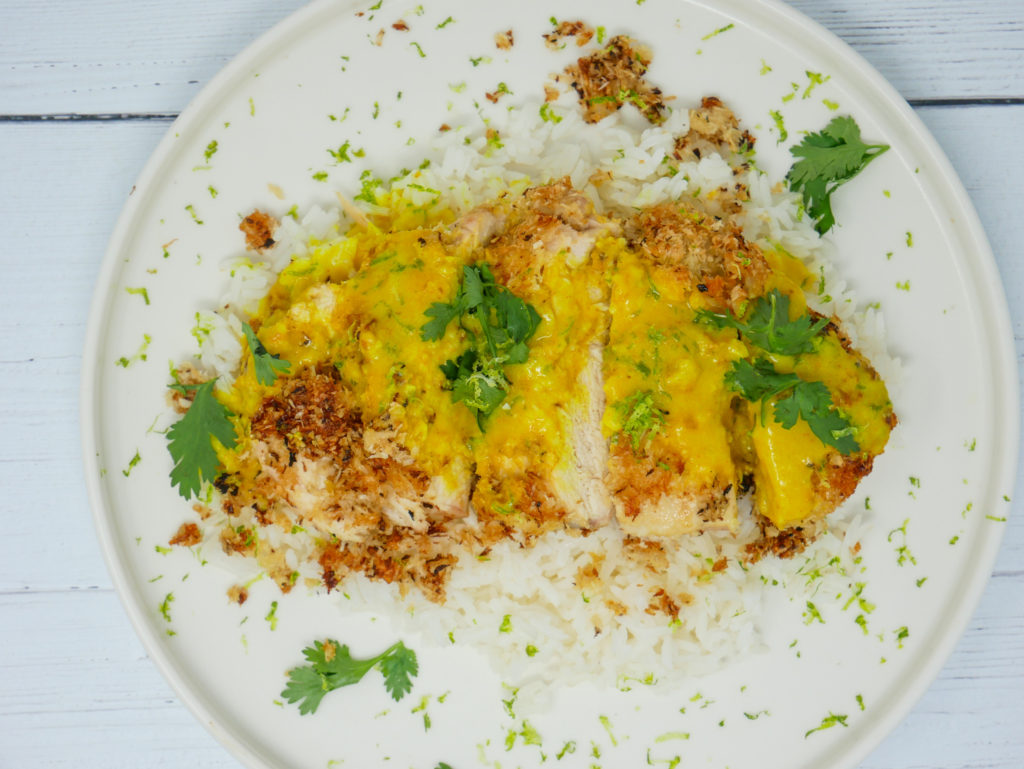 coconut turmeric lime sauce on coconut chicken