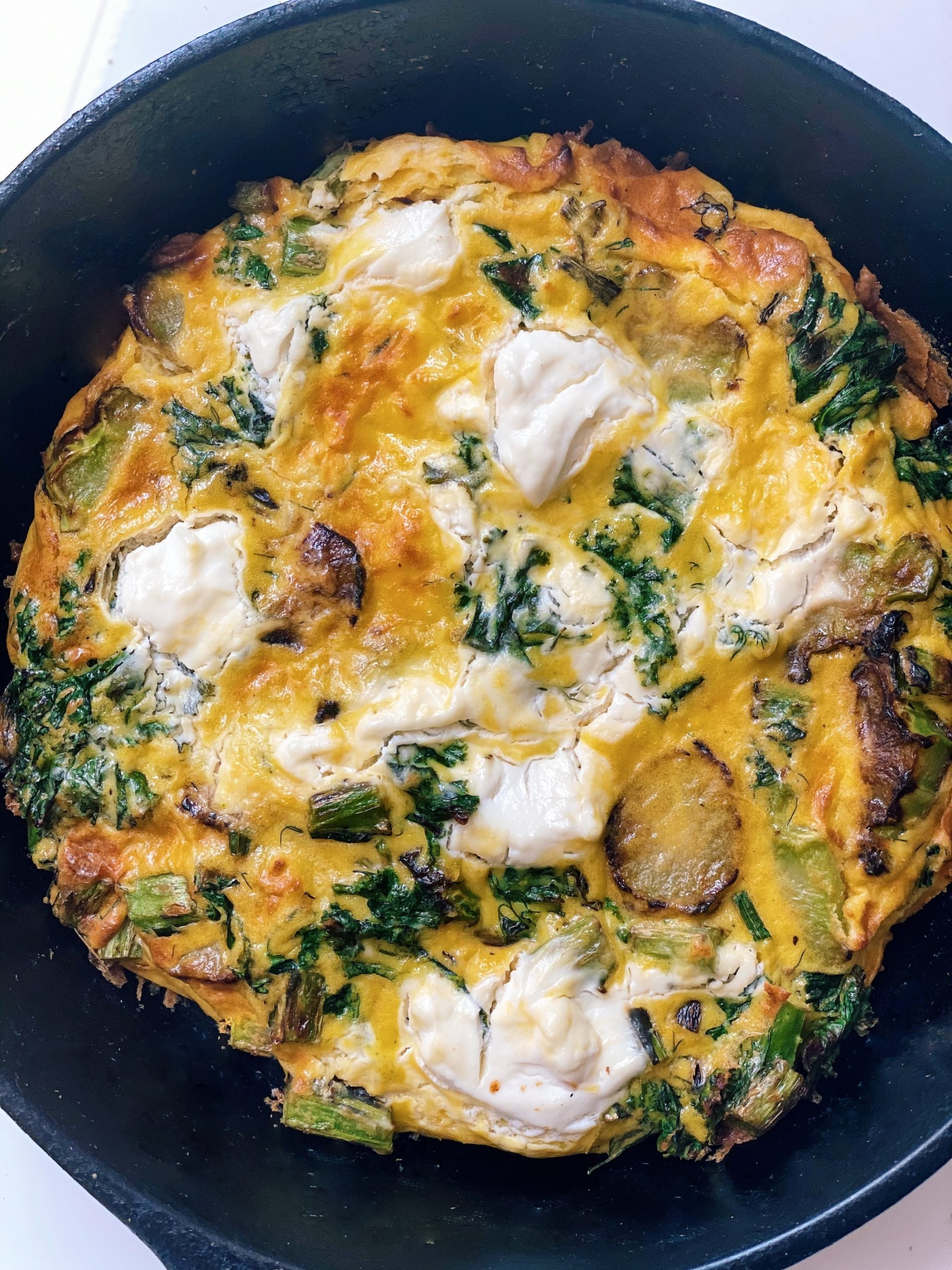 kale and broccoli stem frittata with dill and sour cream
