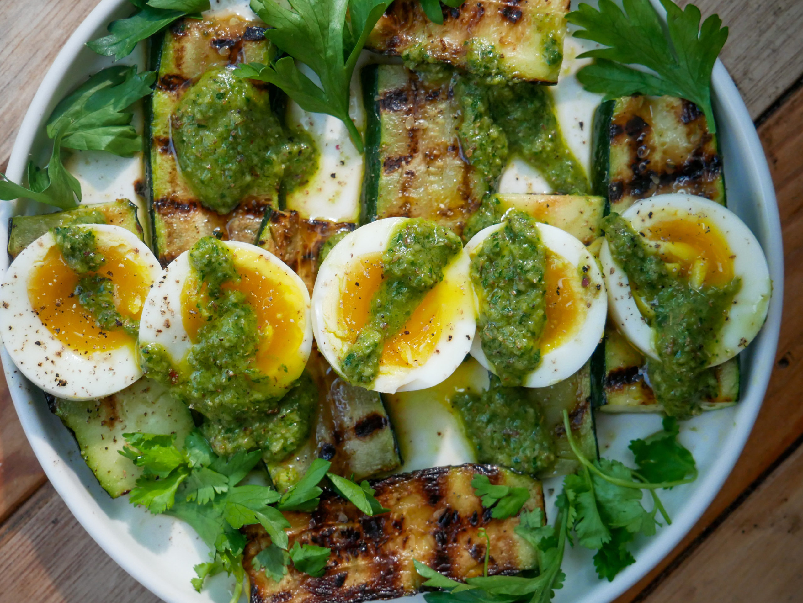 avocado chimichurri with soft boiled eggs and zucchini