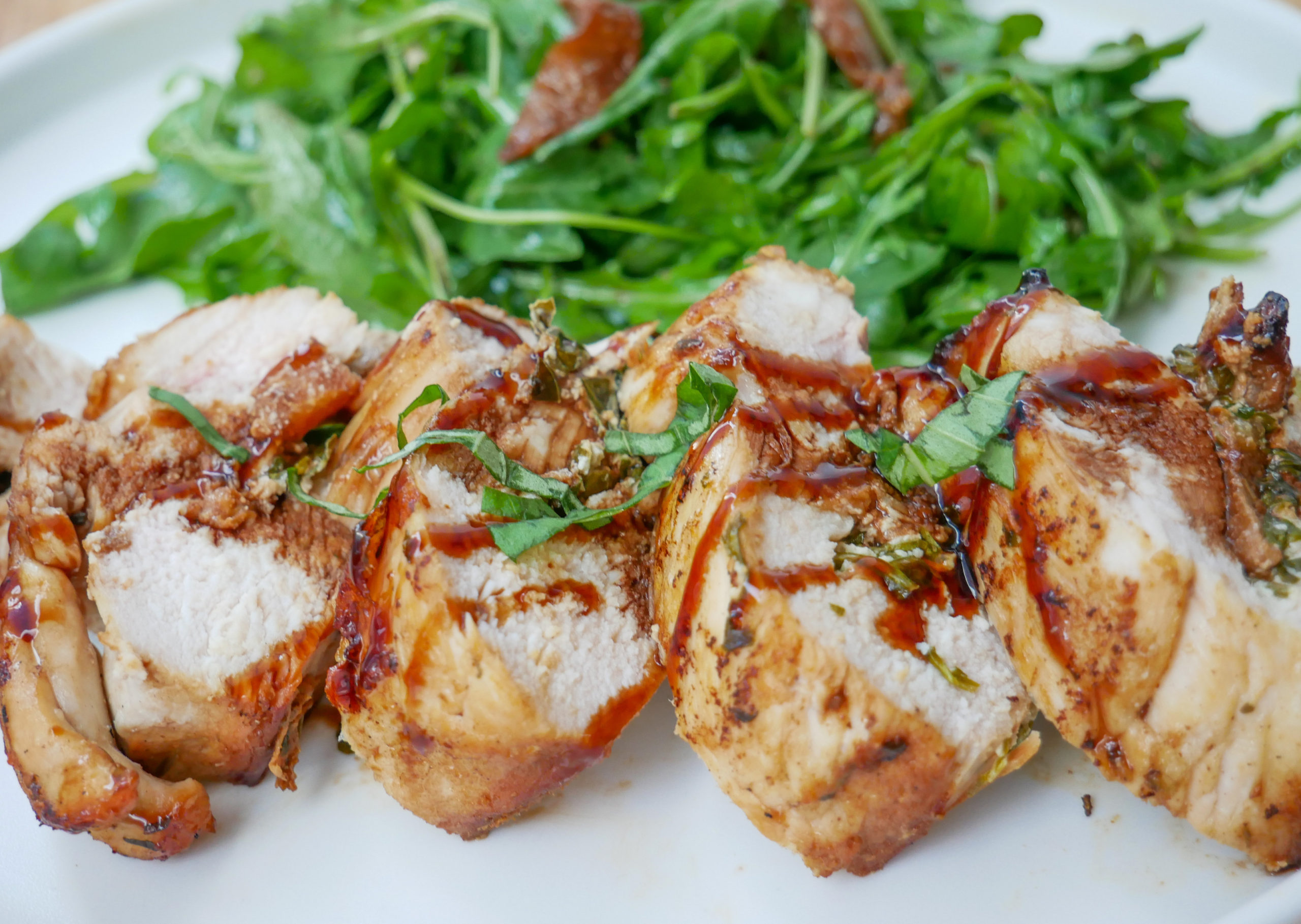 balsamic peach, goat cheese and basil stuffed chicken breast