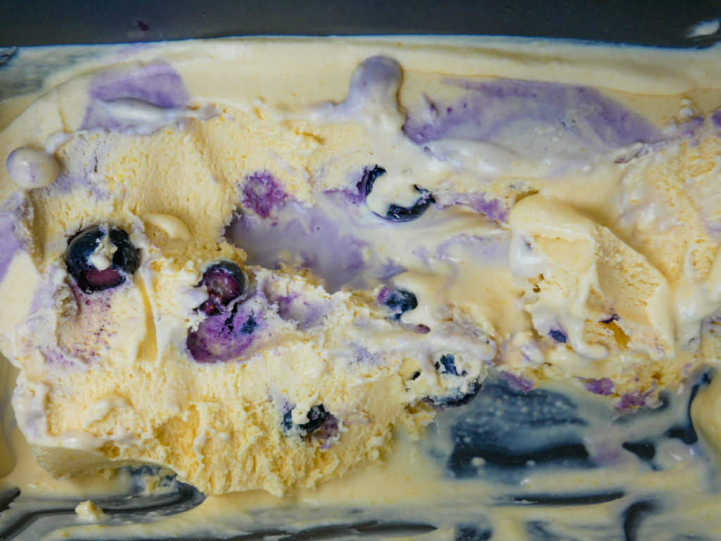 no churn sweet corn ice cream with blueberry compote swirls