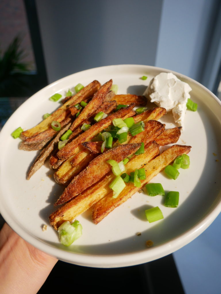 vegan sour cream and onion seasoning with fries