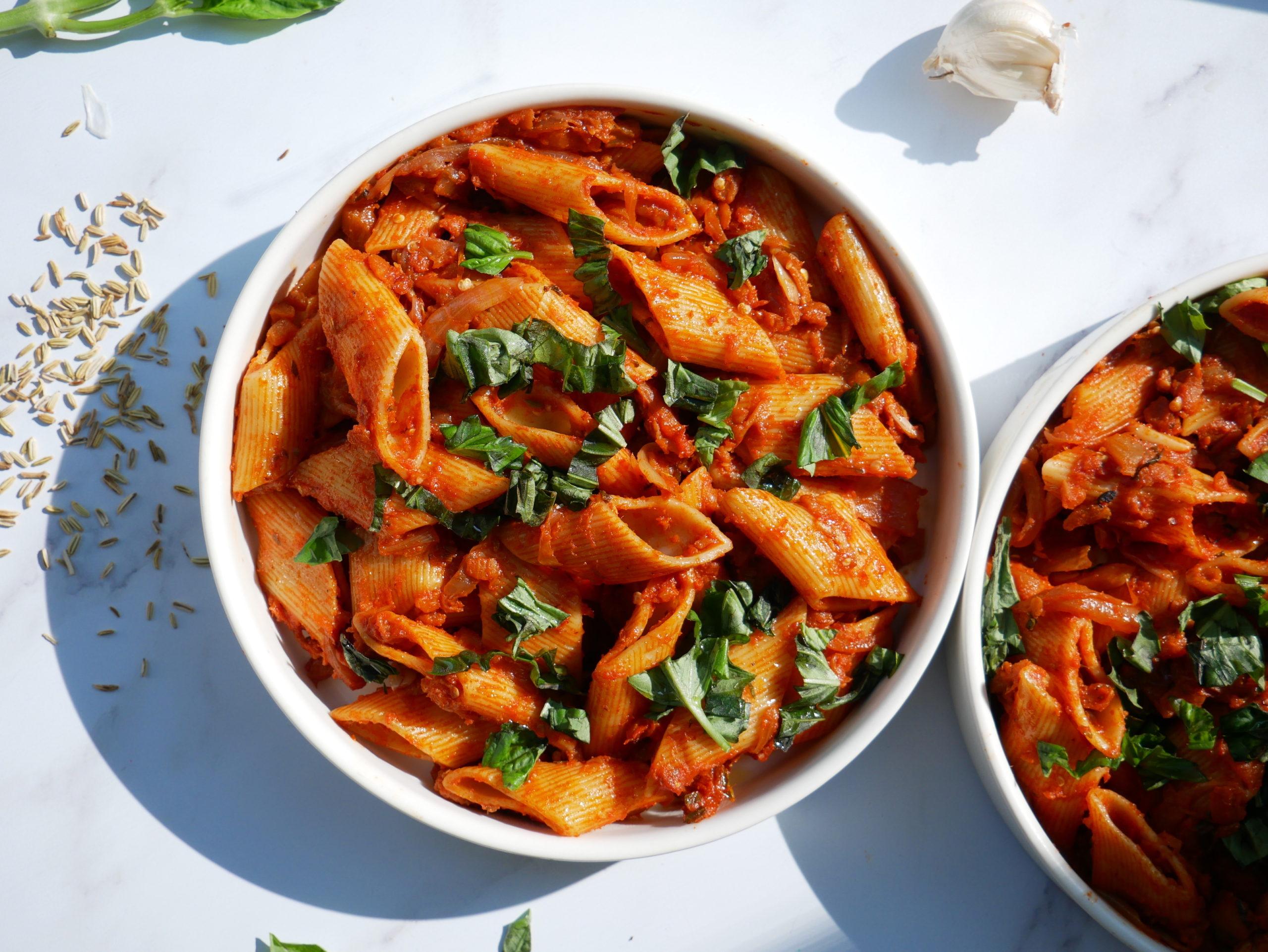 meatless eggplant sweet italian sausage ragu