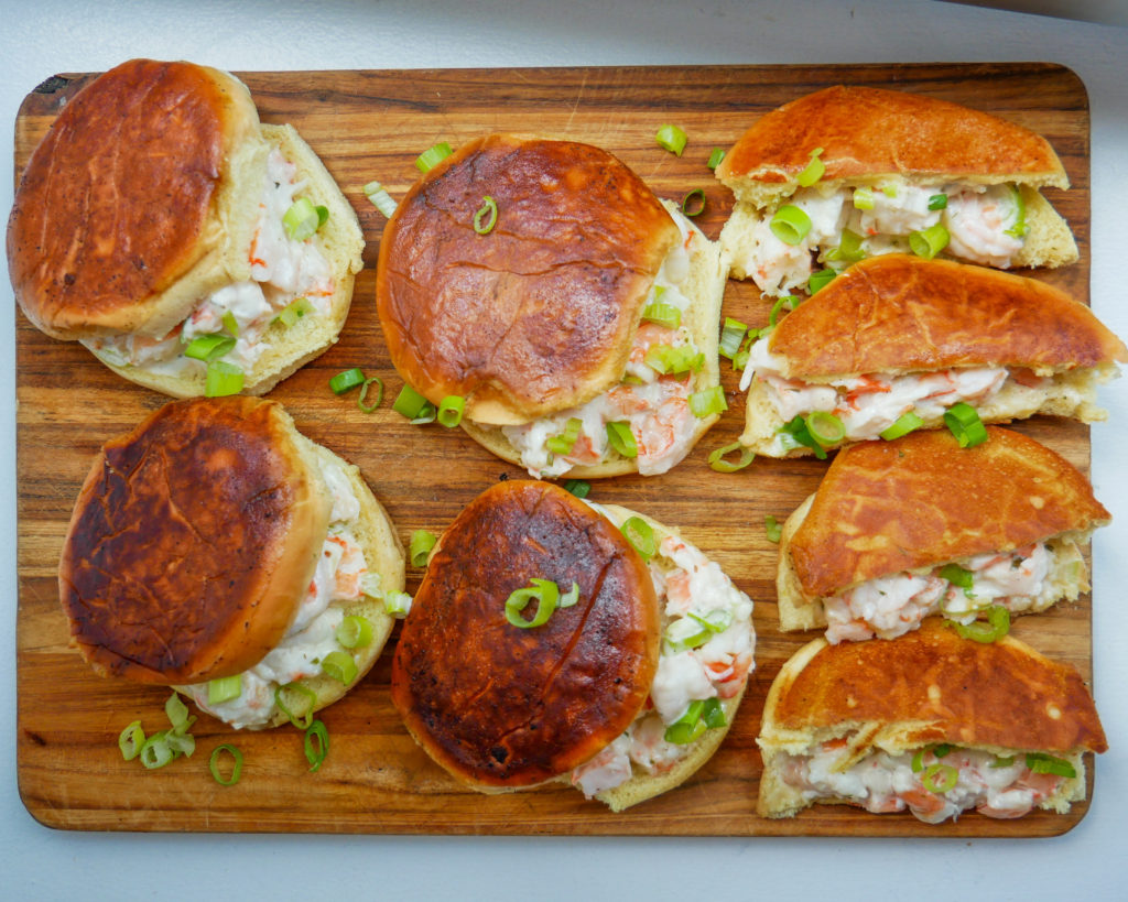 buttery shrimp lobster rolls with tarragon and scallions