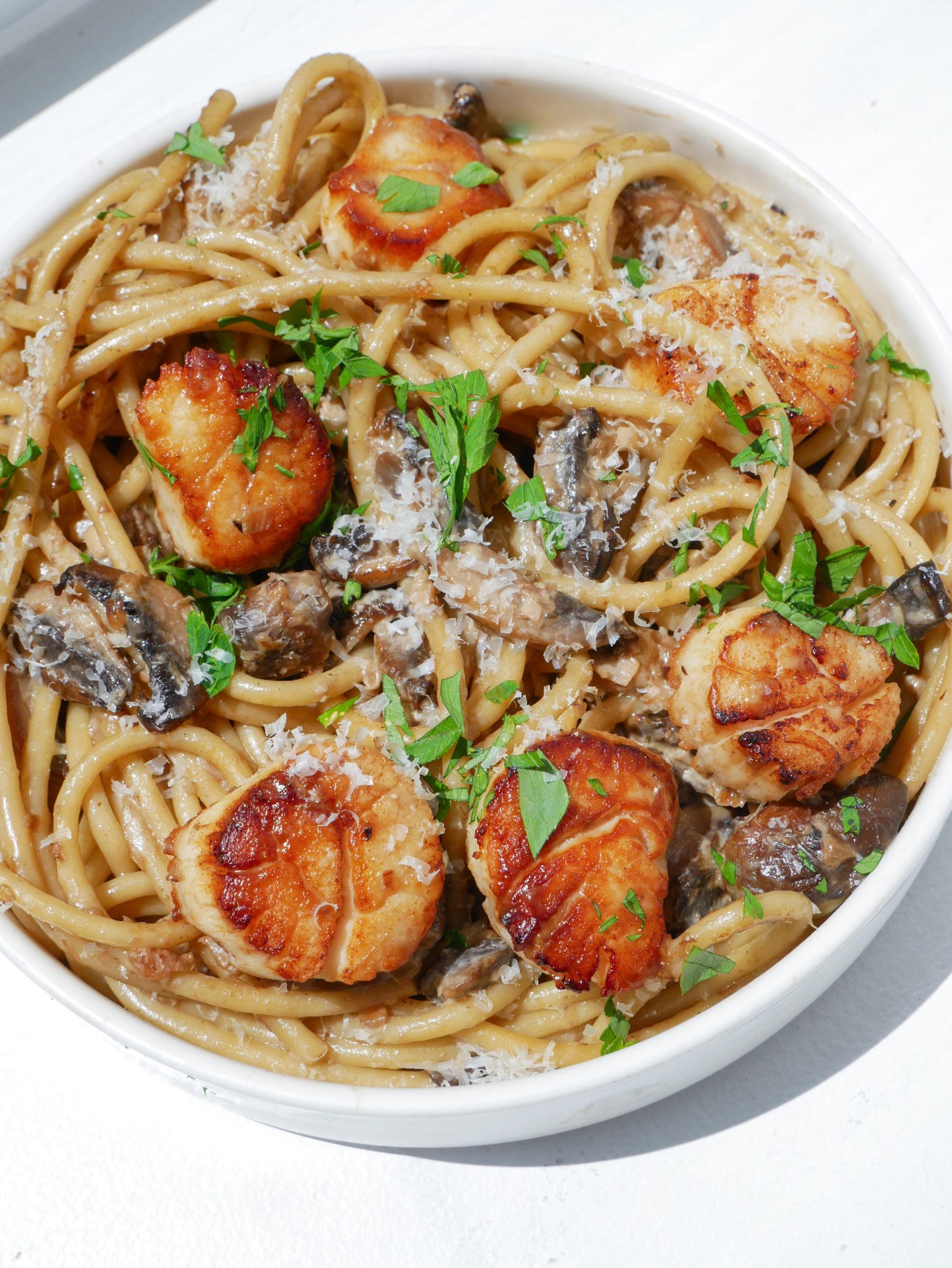 creamy mushroom bucatini seared scallops