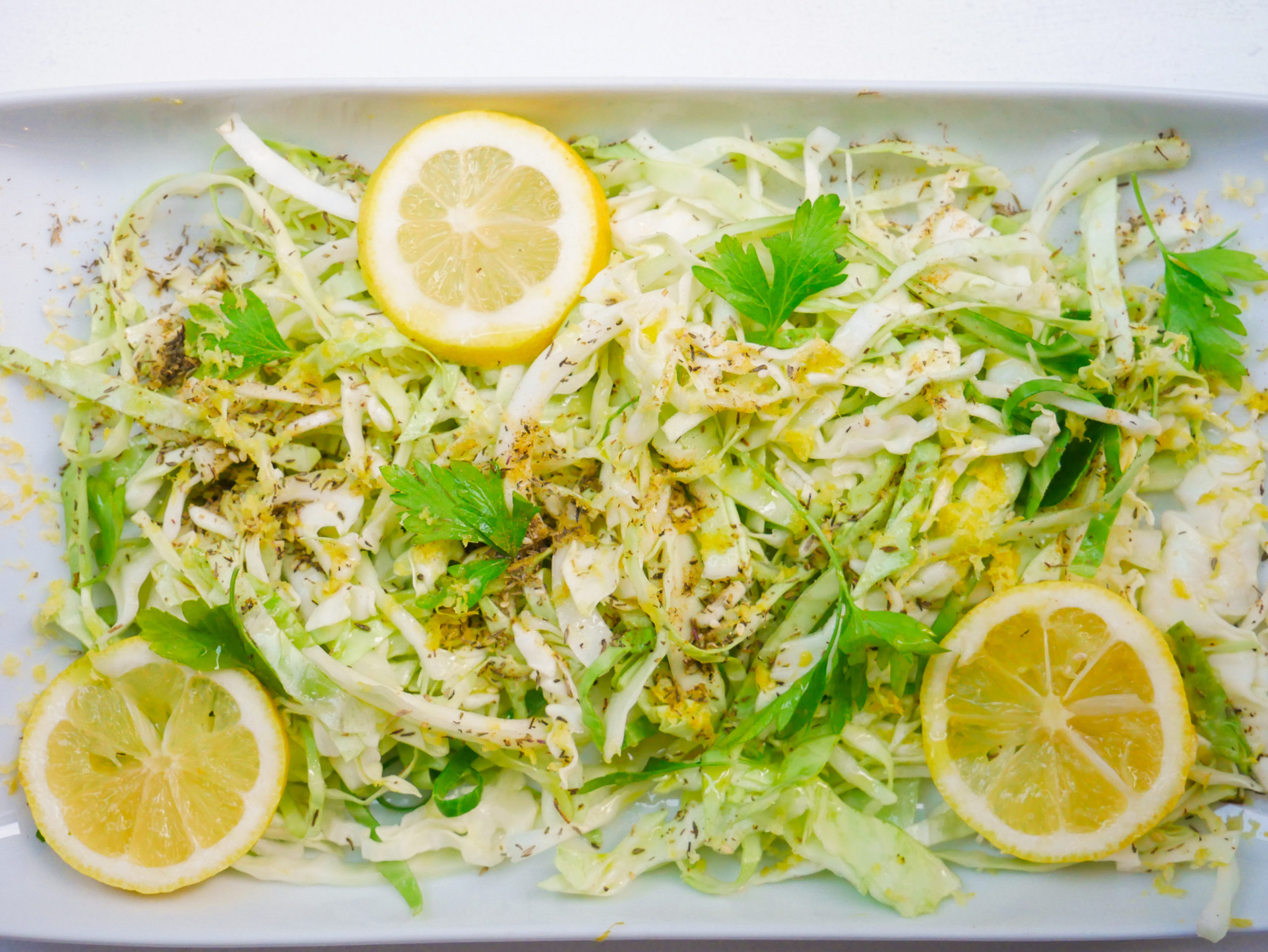lemon raw cabbage salad with za'atar