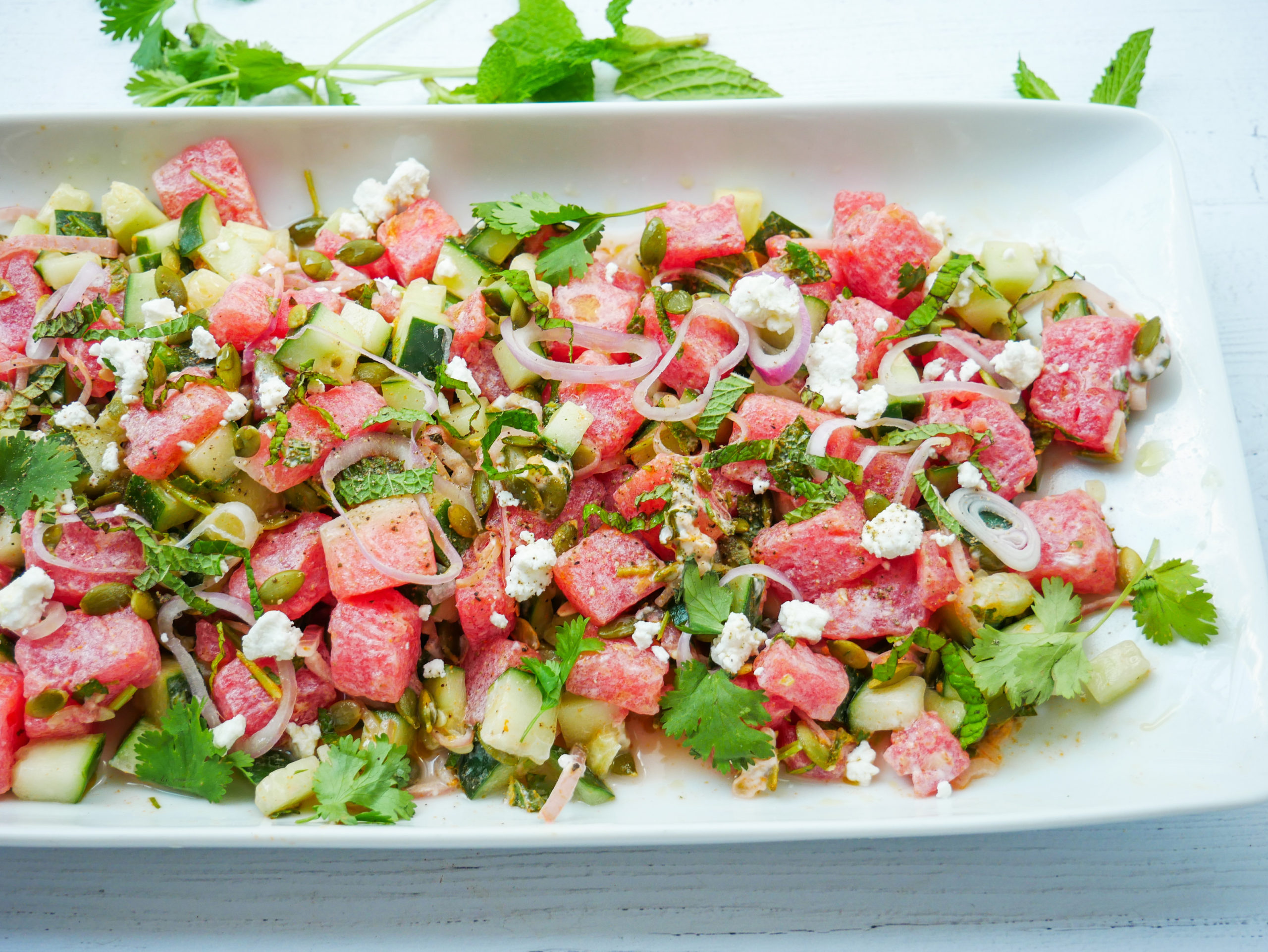 Watermelon, Cucumber and Goat Cheese Salad