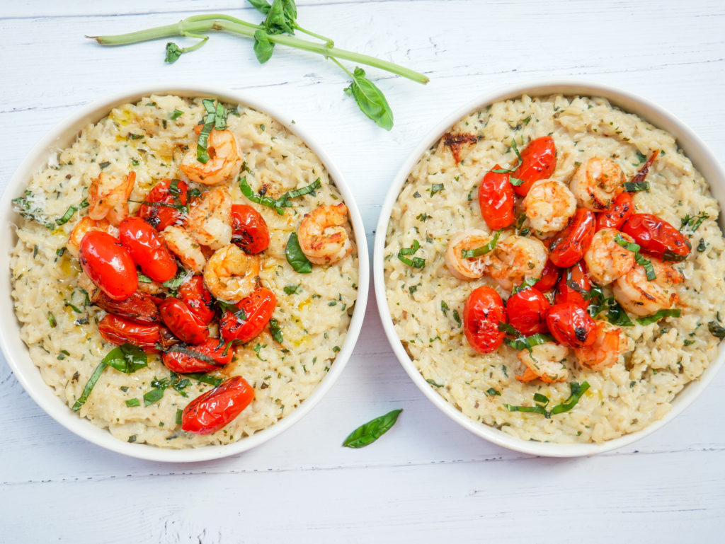 creamy basil garlic risotto with shrimp and tomatoes