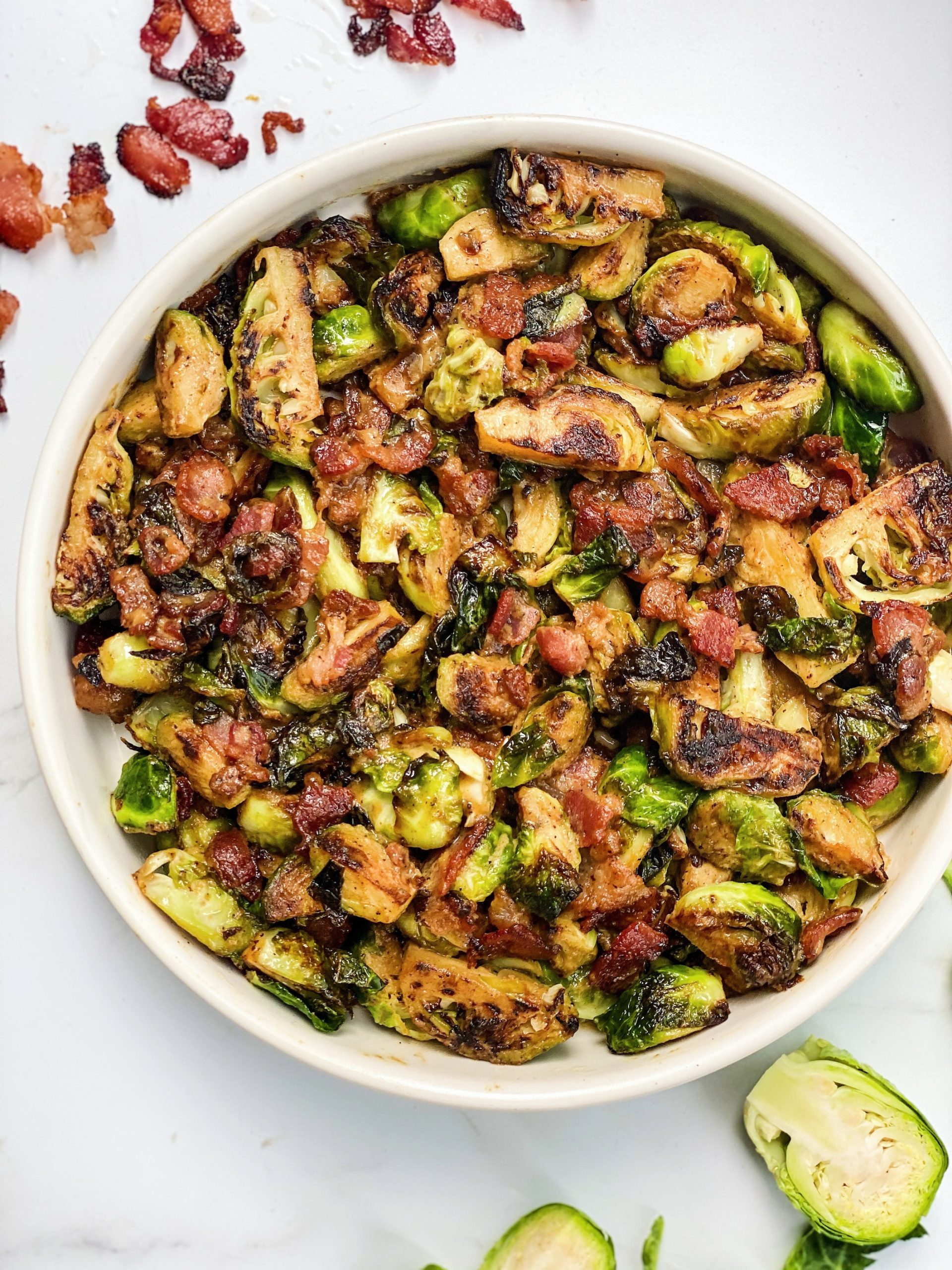 Beer Braised Brussels Sprouts with Bacon and Honey Mustard Glaze