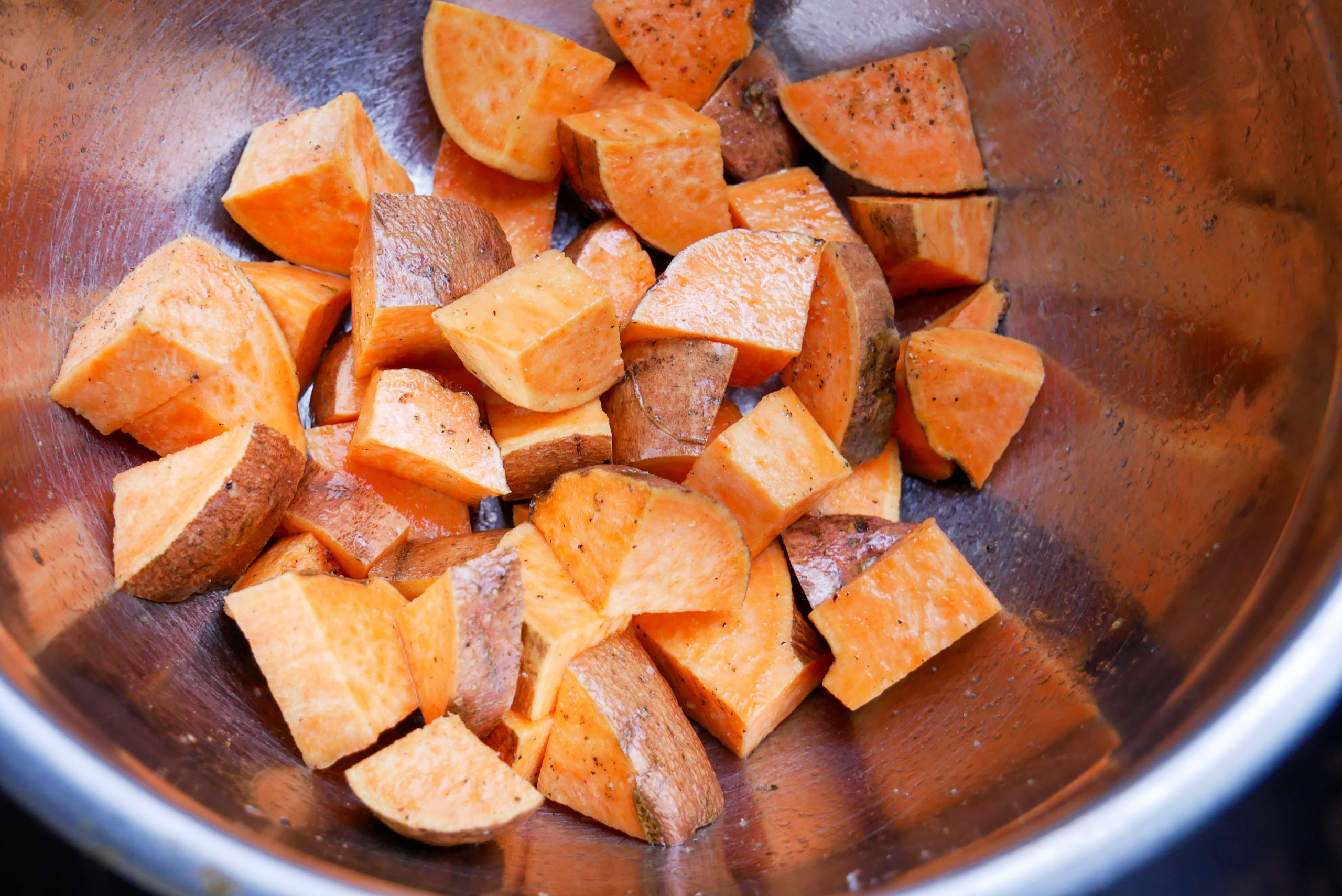 sweet potatoes seasoned with olive oil, salt and pepper