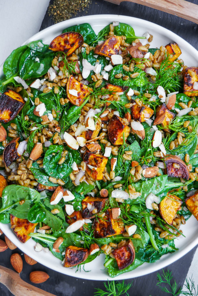 fall salad with sweet potatoes, dill, almonds, spinach and farro