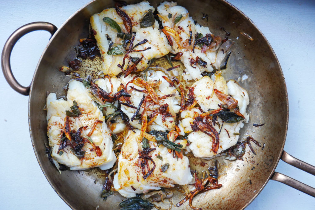 Skillet Cod with Brown Butter, Crispy Sage and Shallots