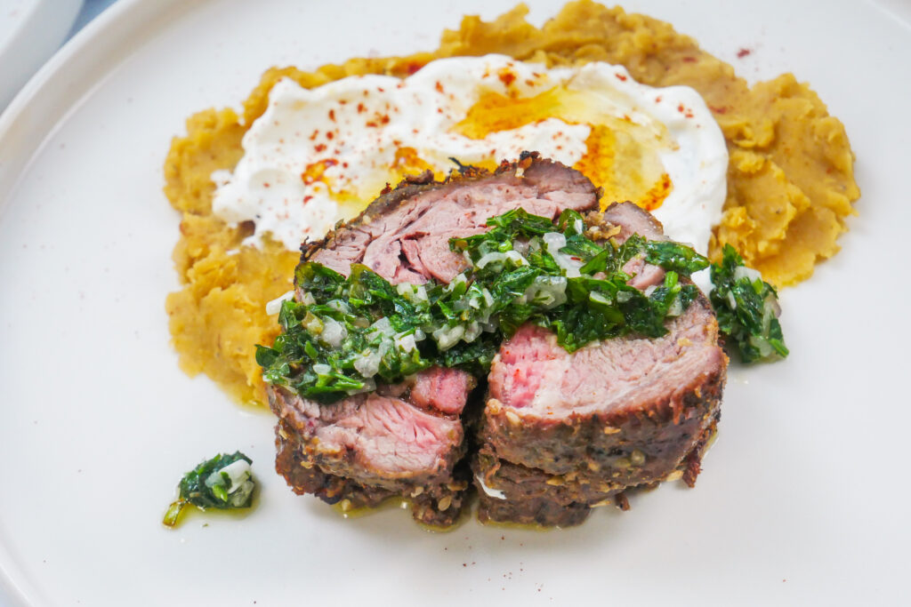spiced lamb shoulder roast with mint and parsley dressing