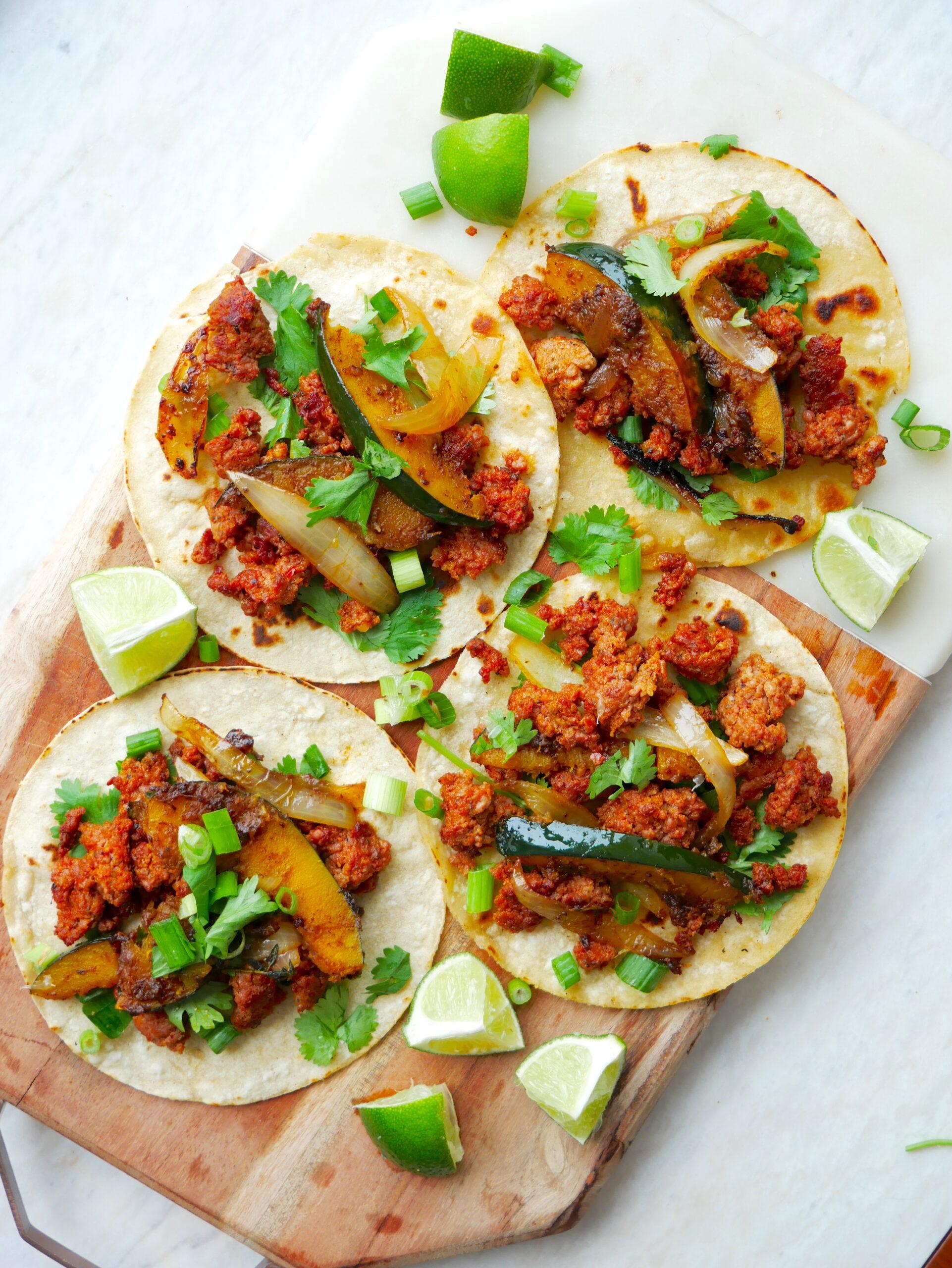 chorizo acorn squash tacos