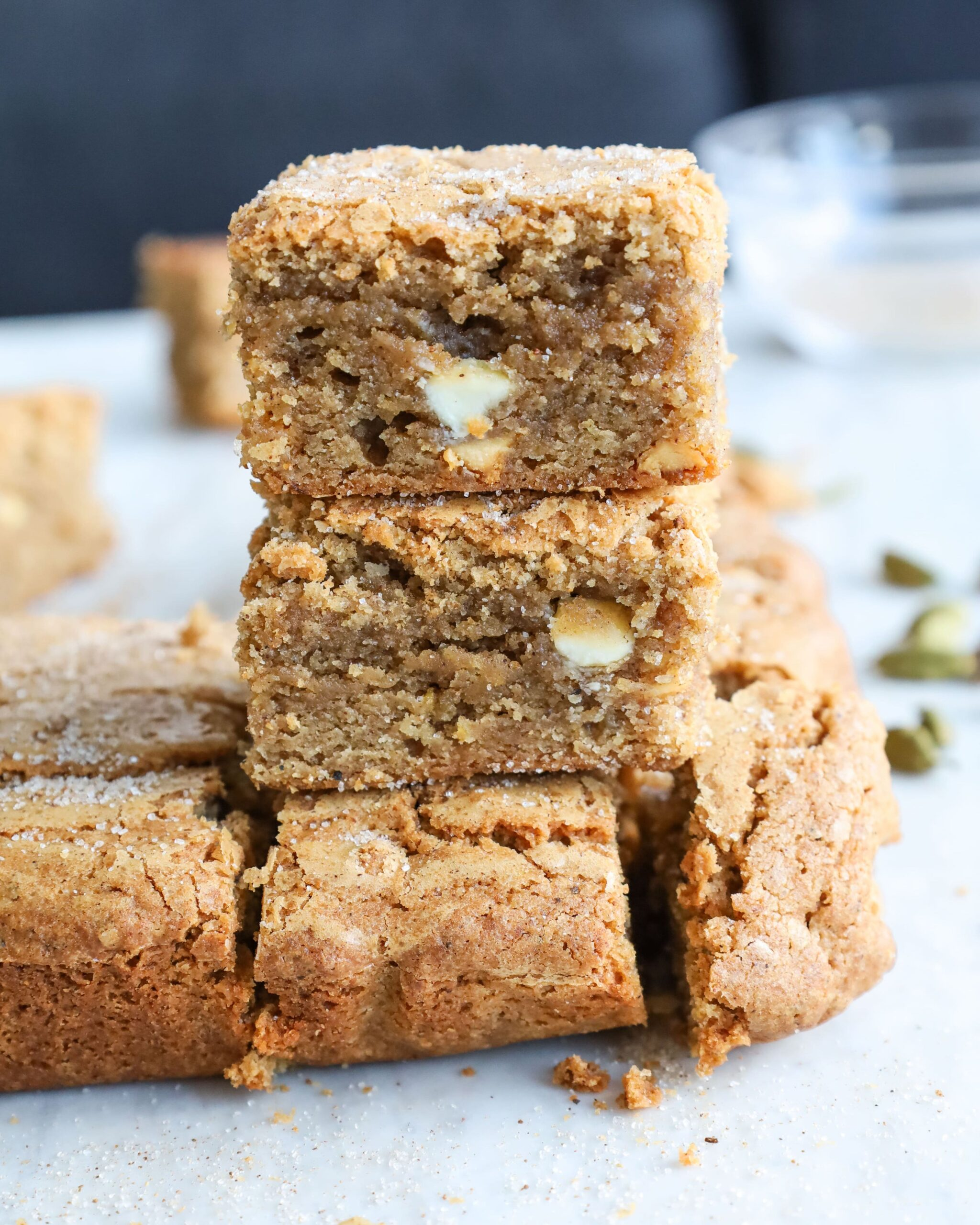 white chocolate chai blondies stack