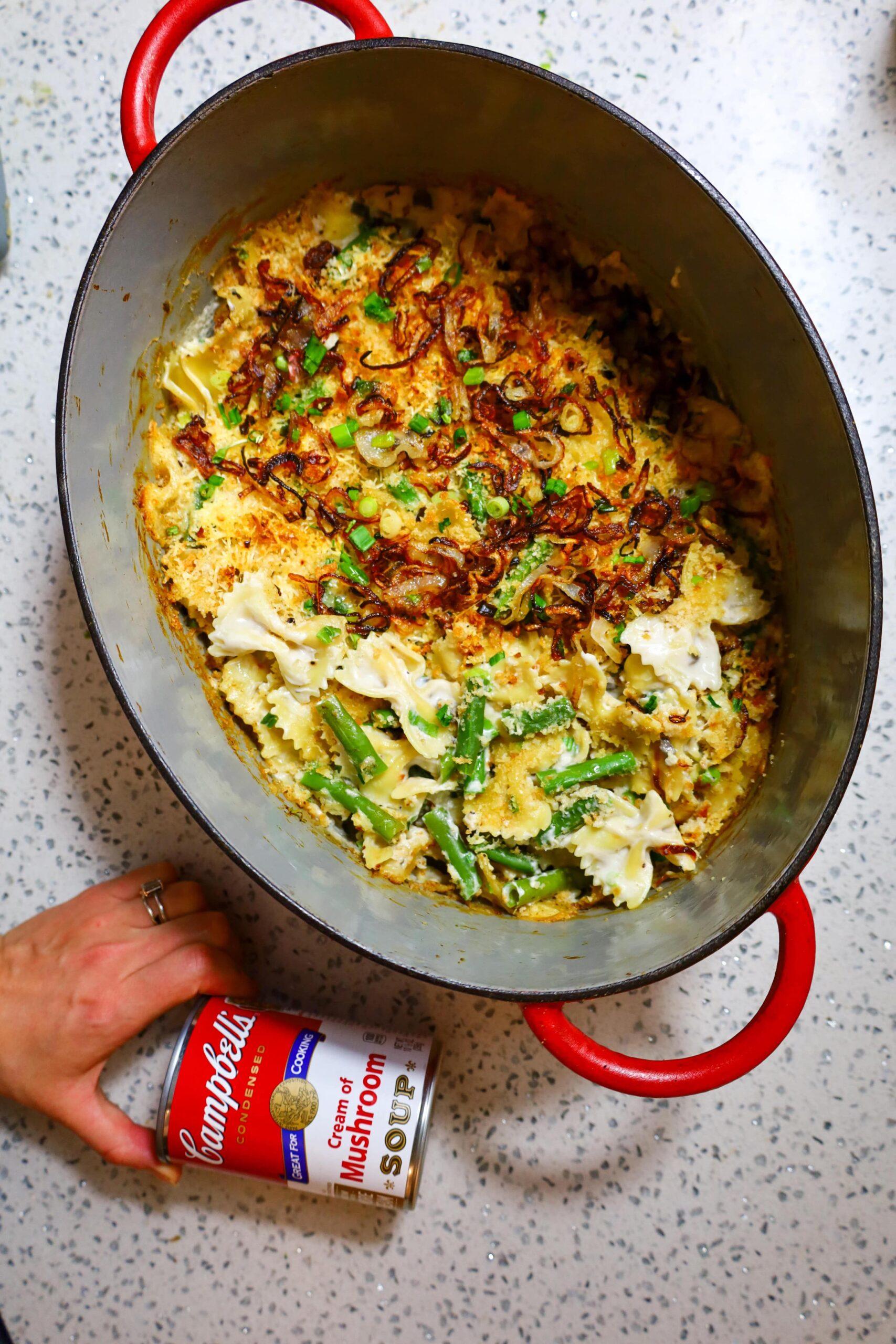 green bean casserole pasta bake