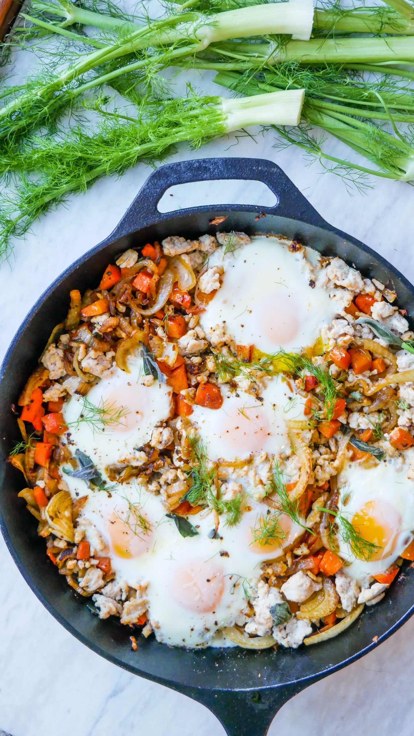 fall breakfast hash in a cast iron skillet