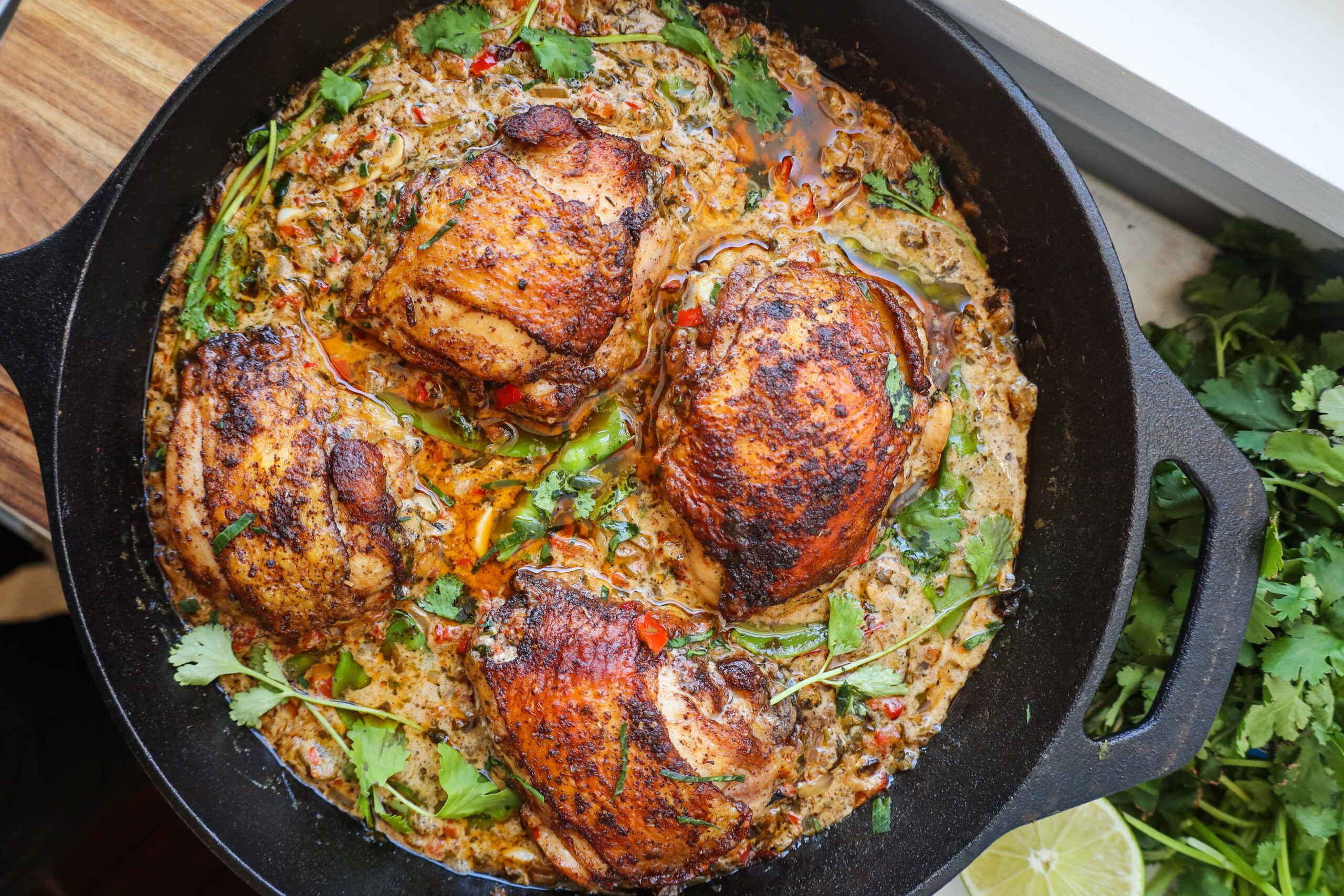 basil coconut curry braised chicken thighs with cilantro