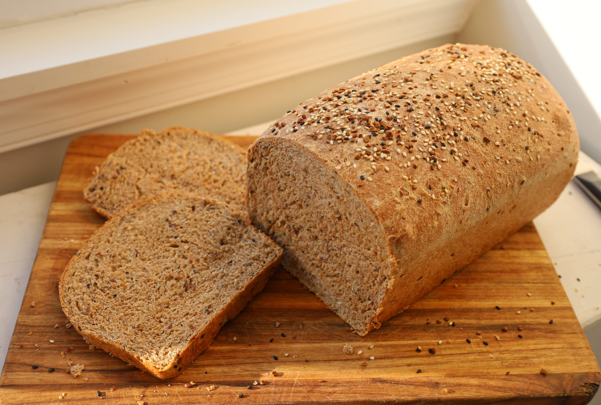 whole wheat everything flax bread