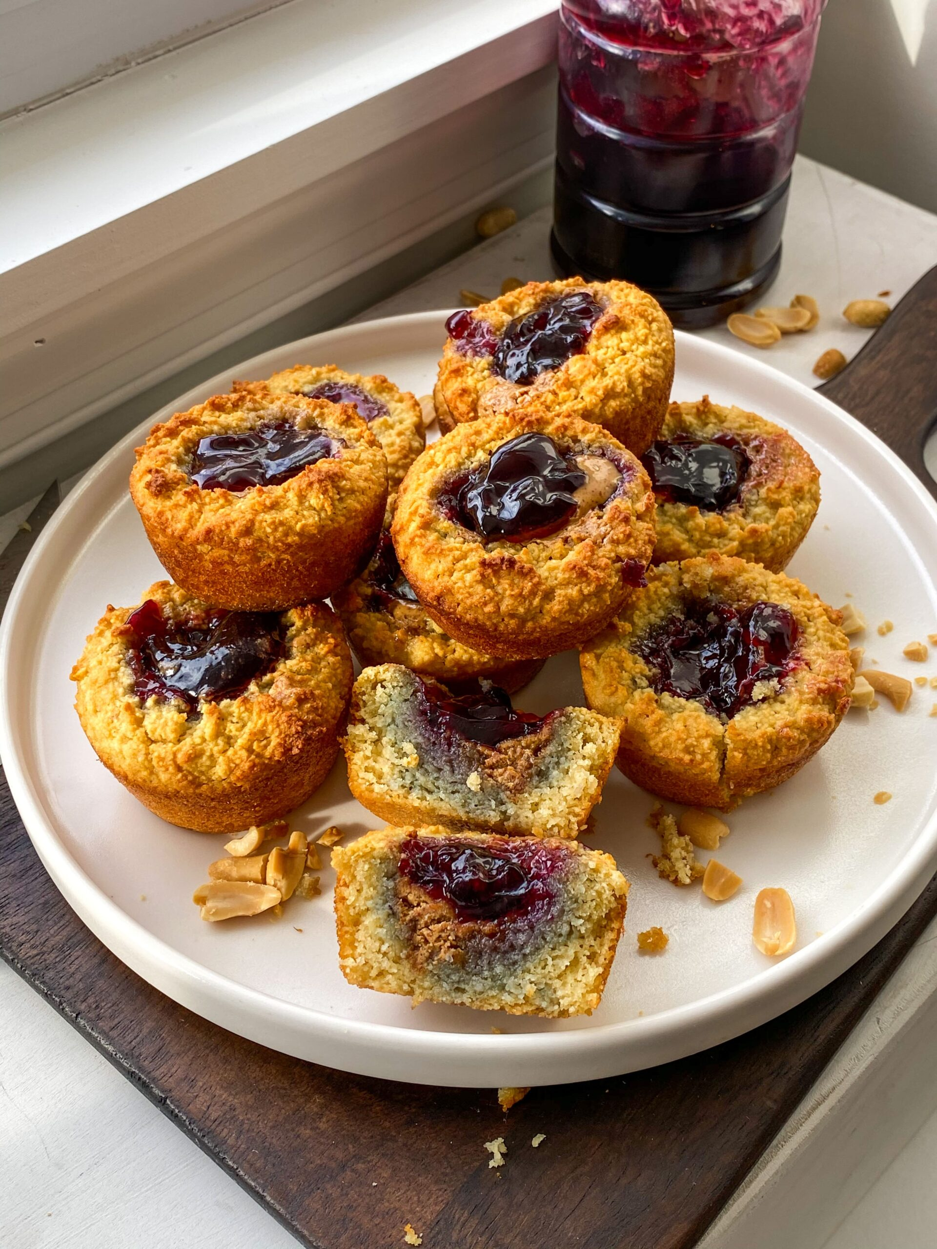 peanut butter and jelly almond flour muffins