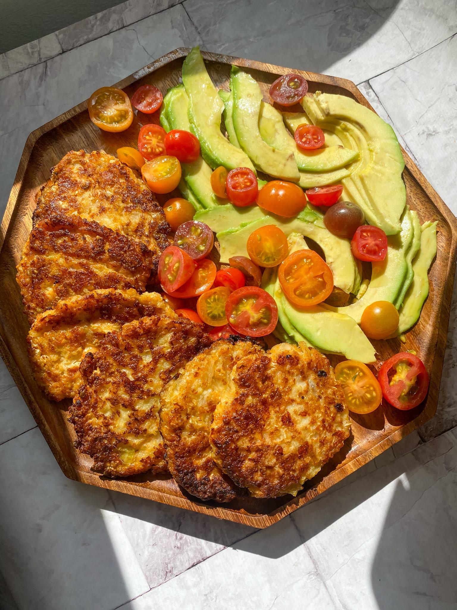 a platter of cauliflower latkes