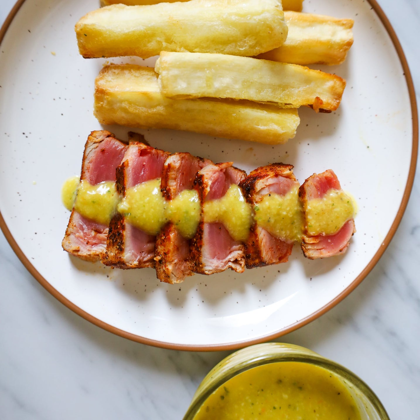 seared yellowfin tuna steaks with yuca fries and mojo