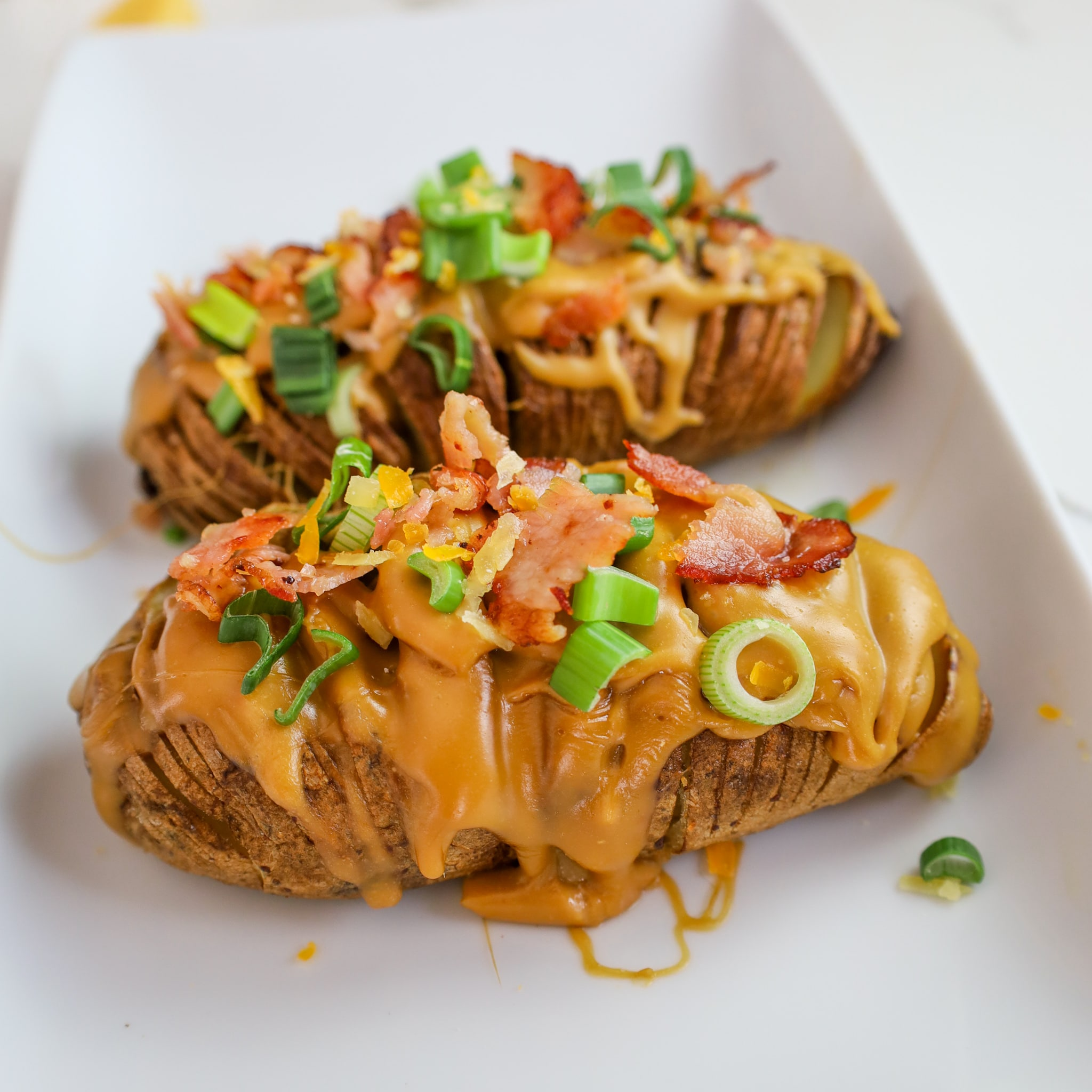 beer cheese hasselback potatoes
