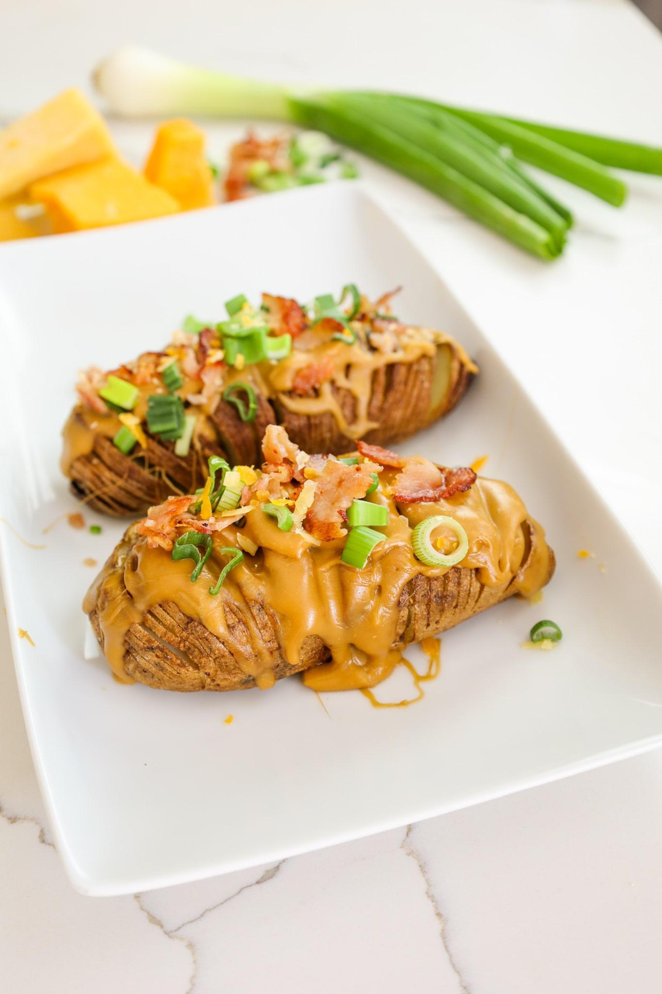 beer cheese hasselback potatoes