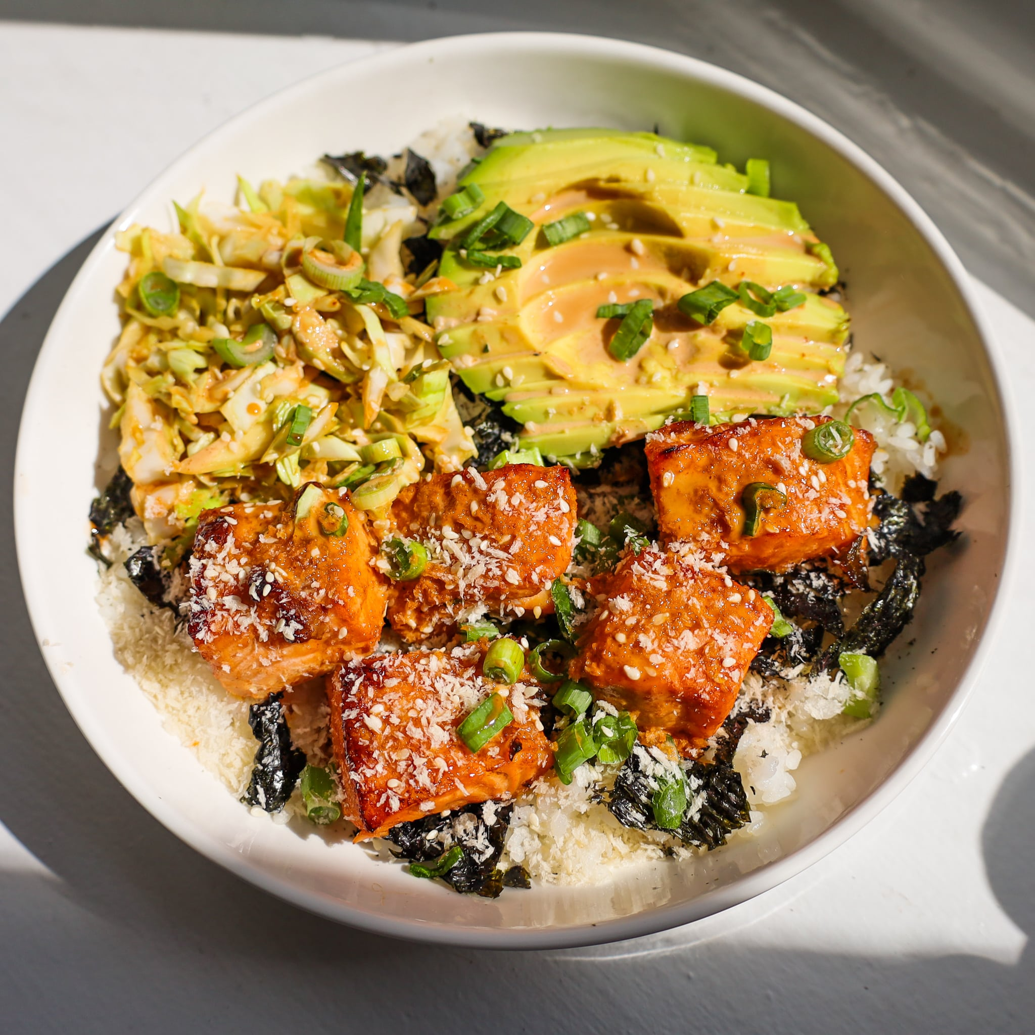 spicy salmon crunch bowl
