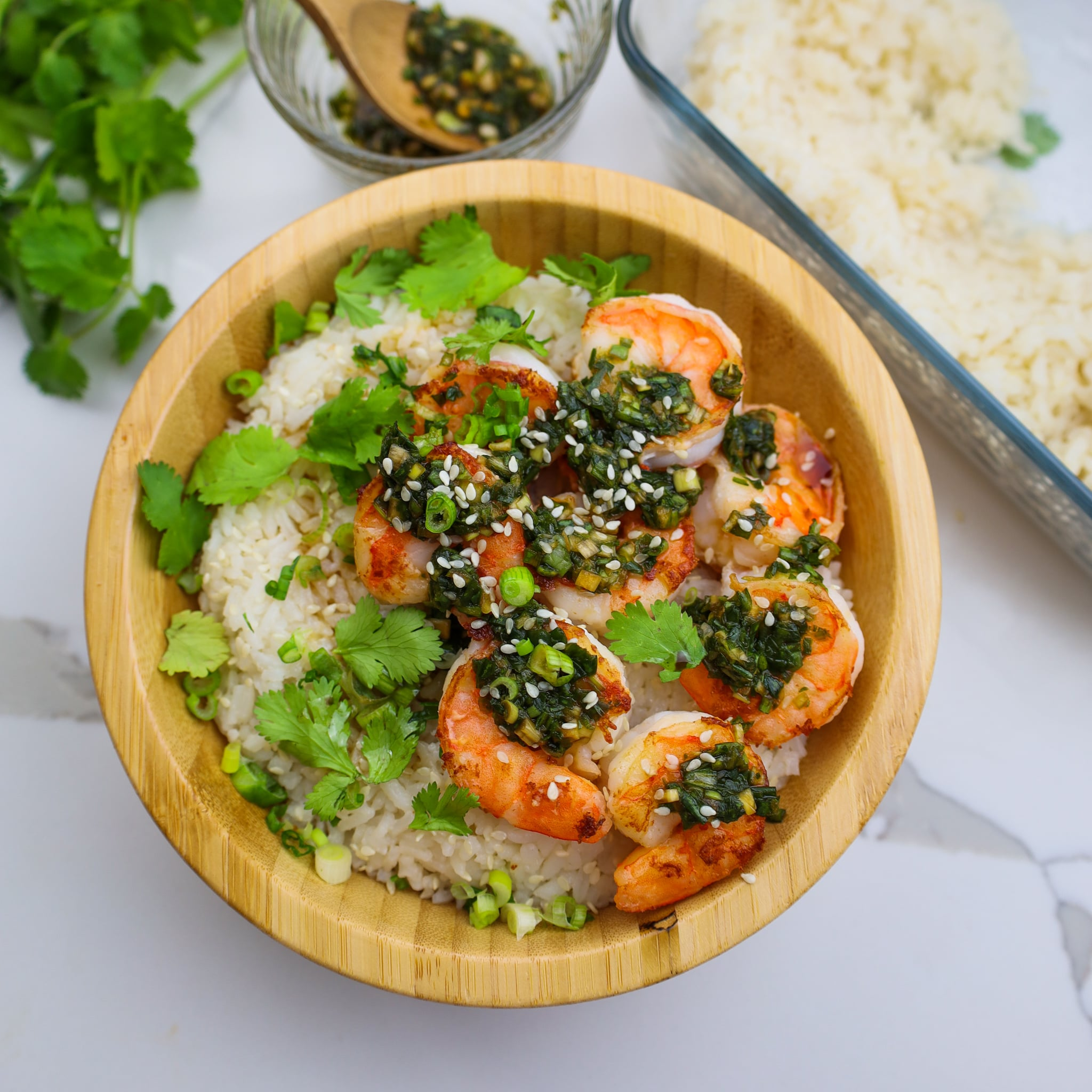 coconut rice with seared shrimp and scallion sauce