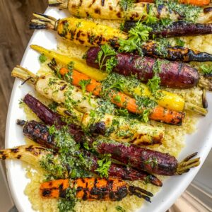 grilled carrots with mint and dill dressing