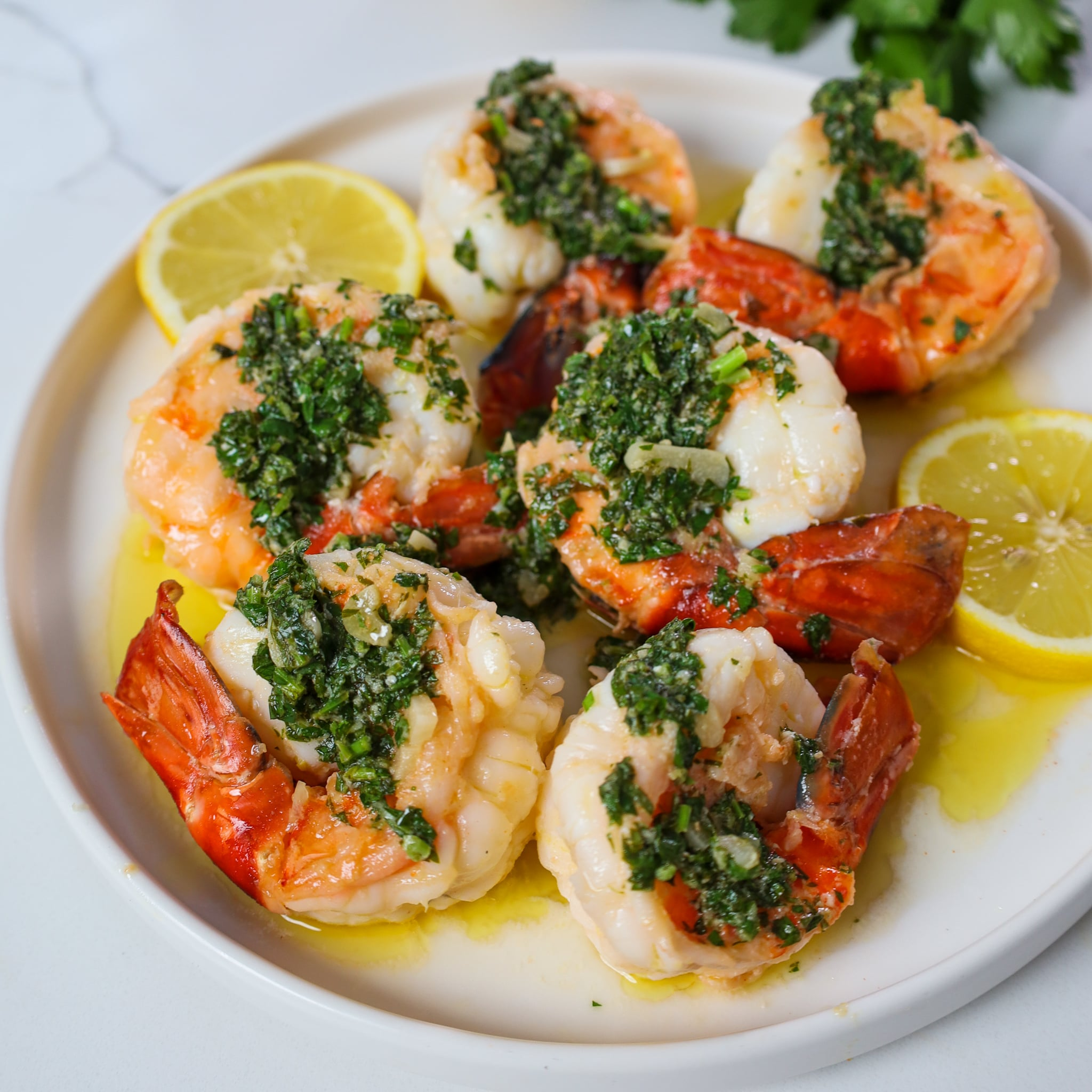 prawn scampi with parsley