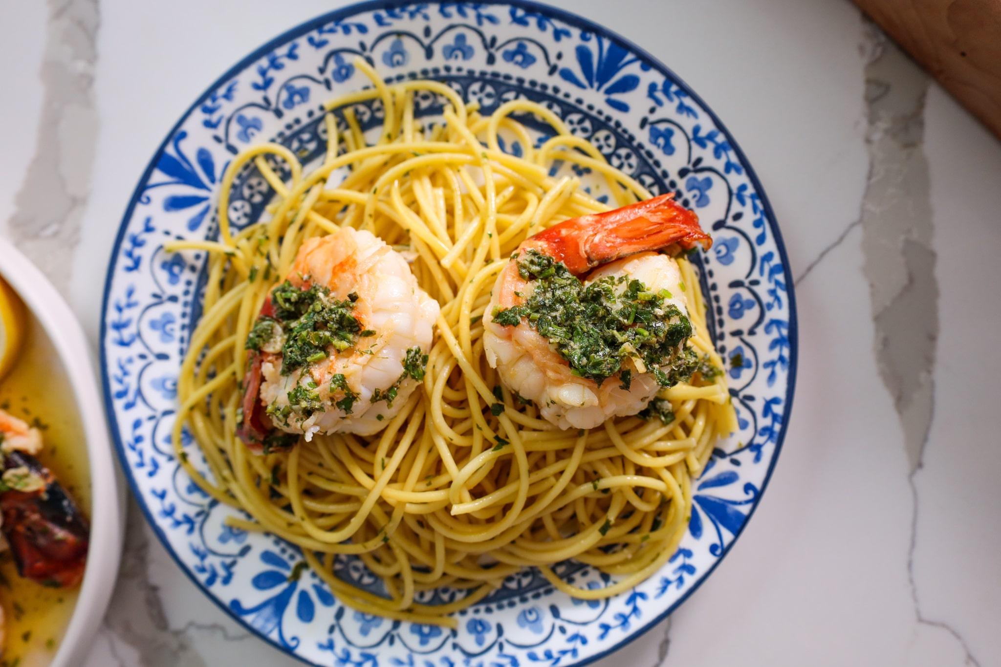 prawn scampi with parsley