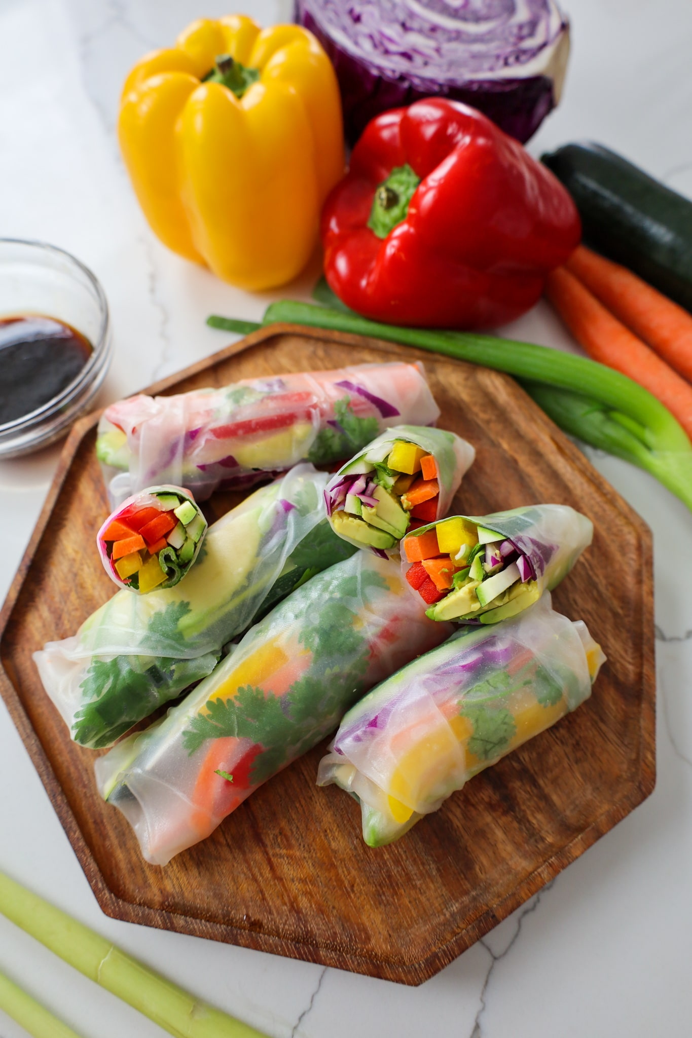 vegan rainbow veggie spring rolls with lemongrass sauce