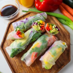 vegan rainbow veggie spring rolls