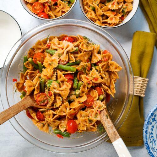 vegan pimento pasta salad