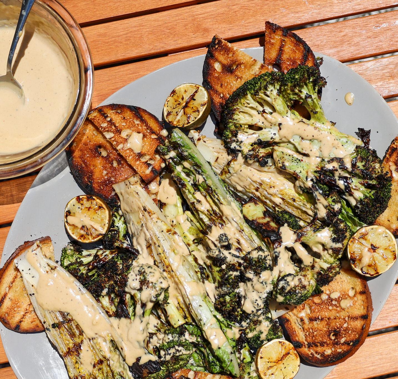 Grilled Romaine and Broccoli Tahini Caesar salad