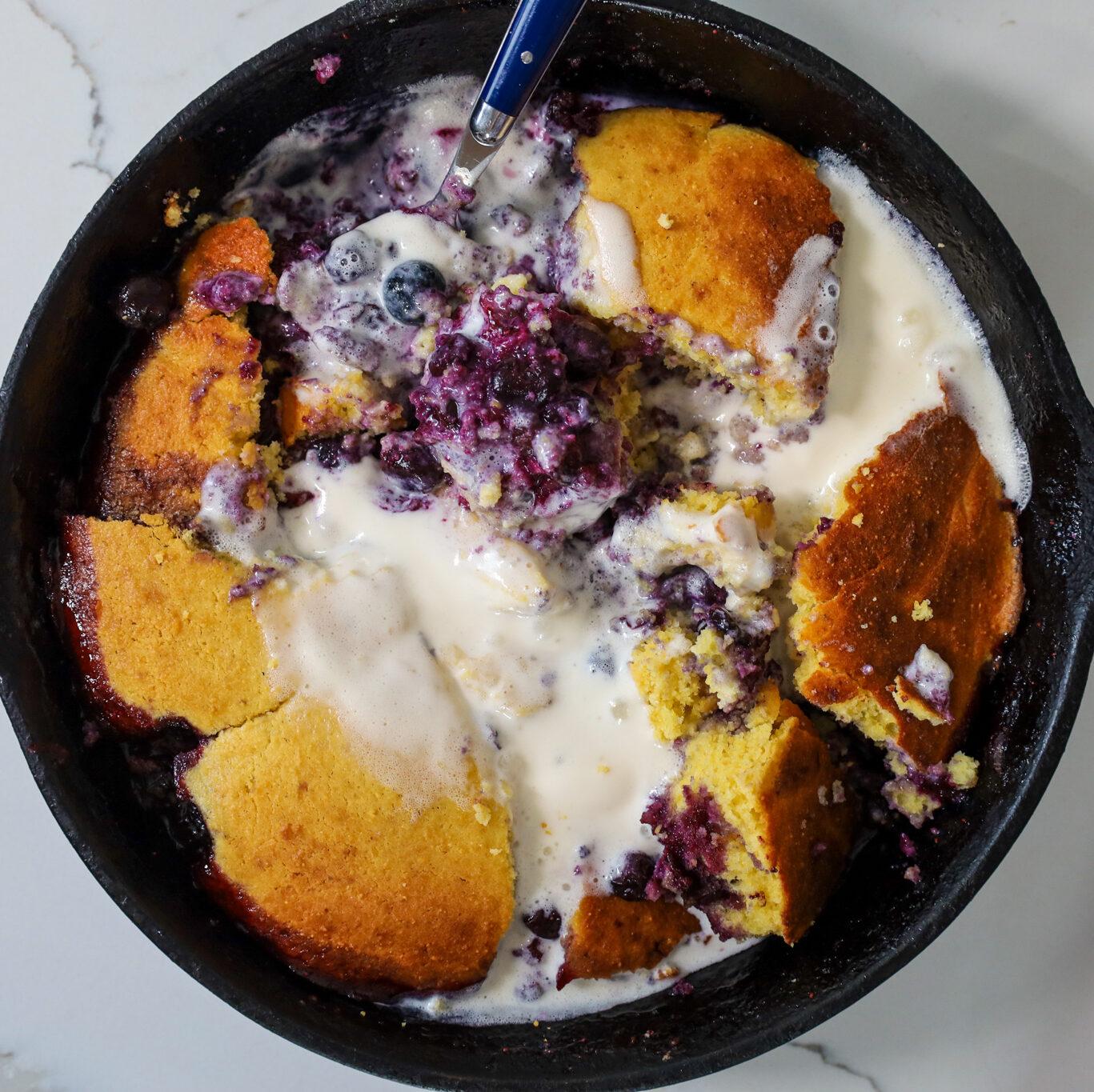 Blueberry Cornbread Cobbler with Honey Vanilla Ice Cream