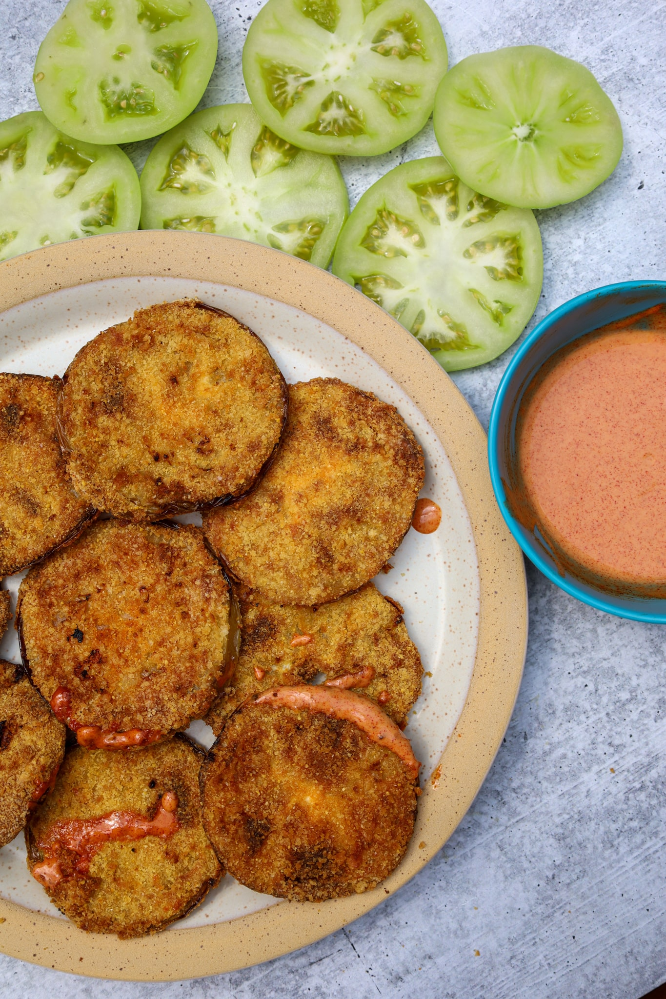 air fried green tomatoes with smoky paprika remoulade