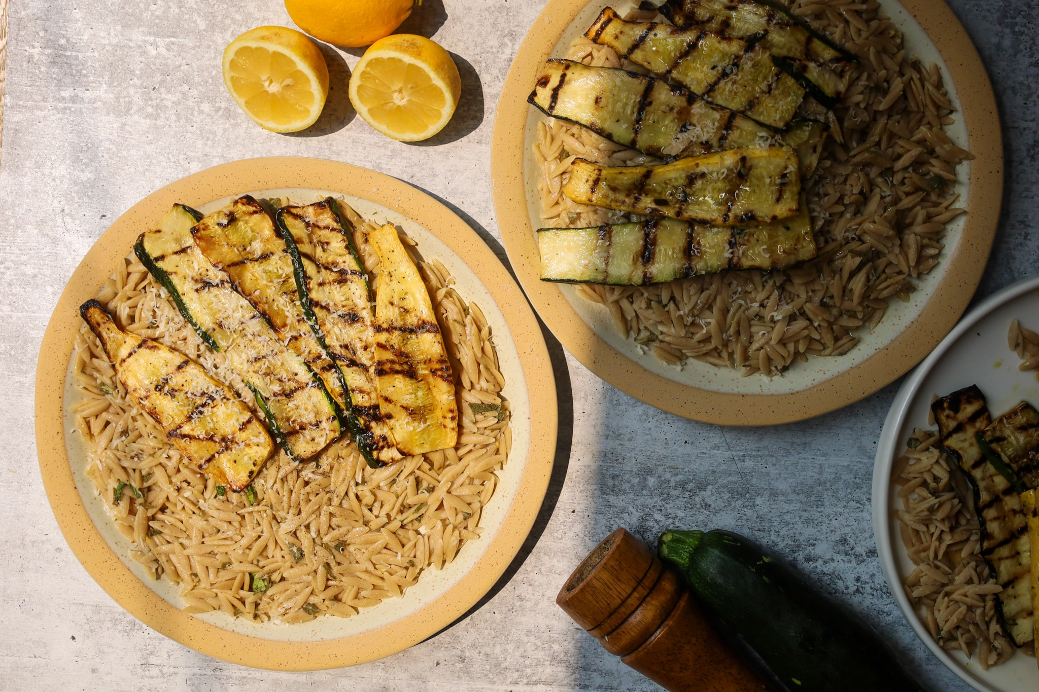lemon brown butter sage orzo with summer squash